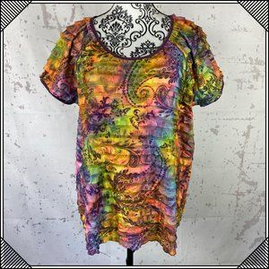 Tops - * Tie Dye Ruffle T-Shirt Short Sleeve Top Paisley